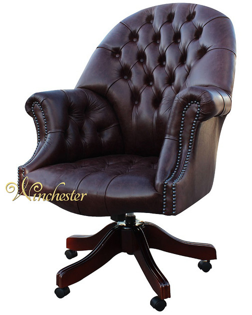 Chesterfield Directors Leather Office Chair Old English