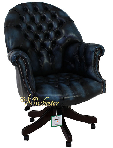 Chesterfield Directors Leather Office Chair Antique Blue