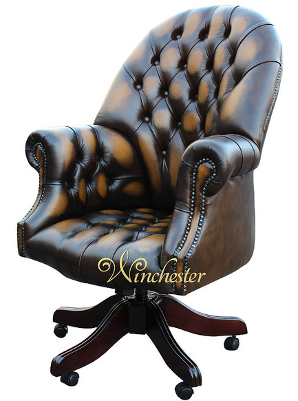 Chesterfield Directors Leather Office Chair Antique Autumn Gold