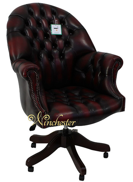 Chesterfield Directors Leather Office Chair Antique Oxblood
