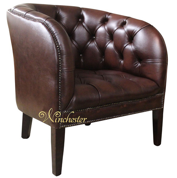 Chesterfield Jasper Low Back Tub Chair UK Manufactured Antique Brown Leather