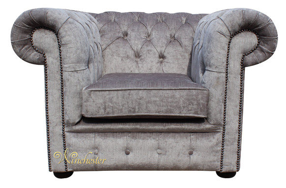 Chesterfield Low Back Club ArmChair Perla Illusions Grey Velvet Fabric