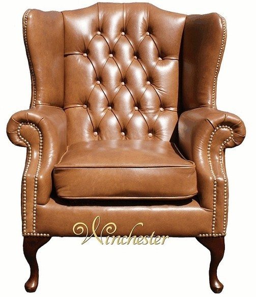 Chesterfield Mallory High Back Wing Chair UK Manufactured Old English Tan Leather Brass Studs