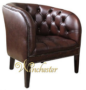 Chesterfield Mayfair Low Back Tub Chair UK Manufactured Antique Brown Leather