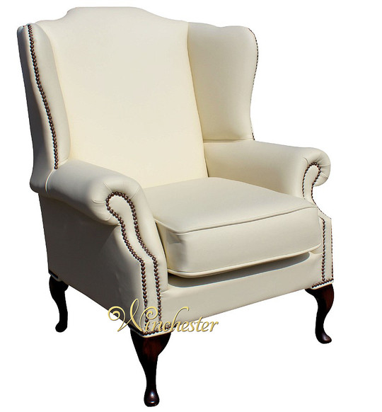 Chesterfield Mallory Saxon Flat Wing High Back Wing Chair UK Manufactured Cottonseed Cream Leather