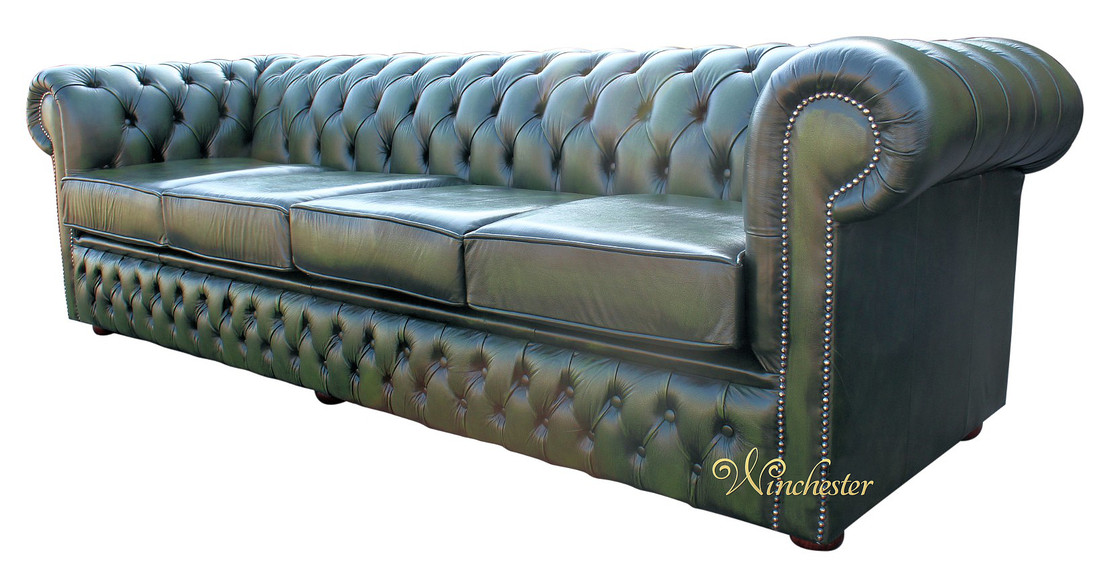 Chesterfield Winchester 4 Seater Settee Antique Green Leather Sofa Offer