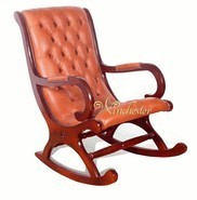 Chesterfield York Rocking Chair Old English Saddle Leather