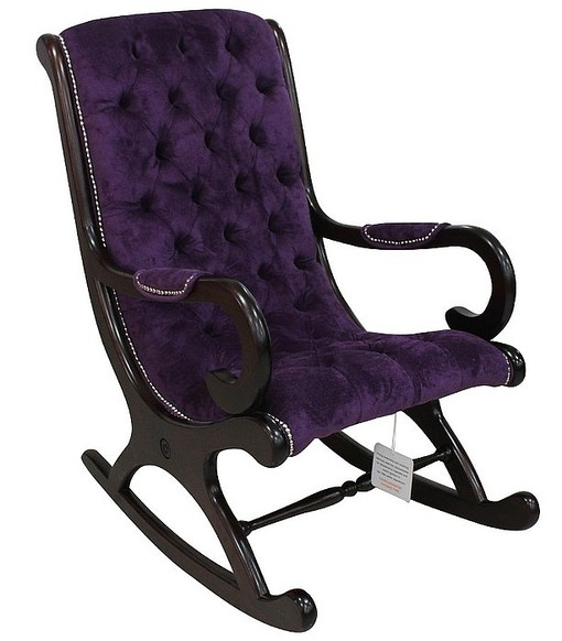 Chesterfield York Slipper Rocker Chair Dakota Violet Purple Velvet Fabric