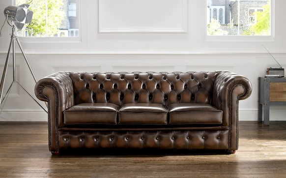Chesterfield Leather Sofa Antique Brown