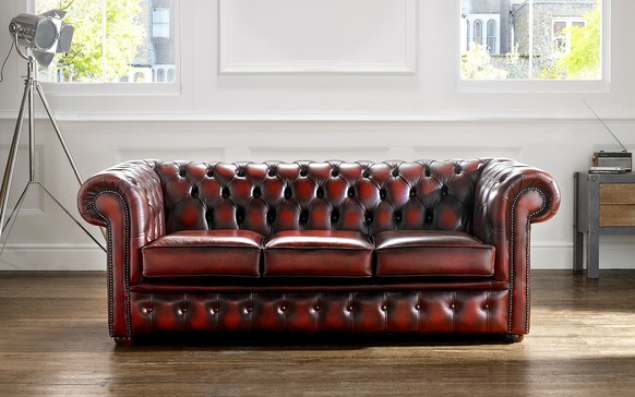 Chesterfield Leather Sofa Antique Oxblood