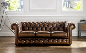 Chesterfield Leather Sofa Antique Autumn Tan
