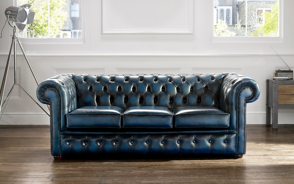Chesterfield Leather Sofa 3 Seater Antique Blue