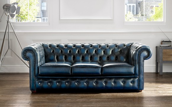 Chesterfield Leather Sofa Antique Blue