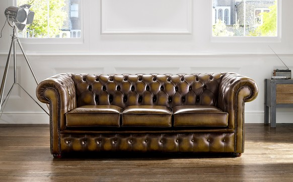 Chesterfield Leather Sofa Antique Gold