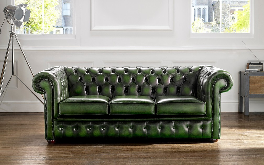 Chesterfield Leather Sofa 3 Seater Antique Green