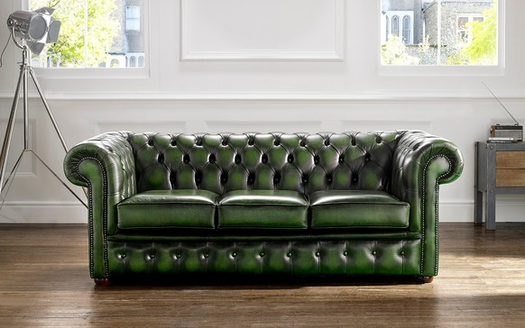 Chesterfield Leather Sofa Antique Green