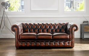 Chesterfield Leather Sofa Antique Light Rust