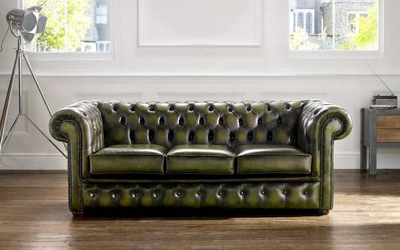 Chesterfield Leather Sofa Antique Olive
