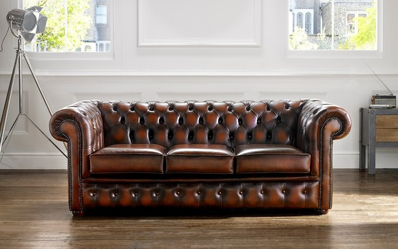 Chesterfield Leather Sofa Antique Rust