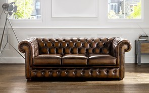 Chesterfield Leather Sofa Antique Tan