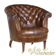 Brown leather button Club chair