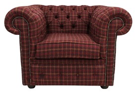 Chesterfield Arnold Wool Tweed Club Chair Low Back Armchair Balmoral Claret Fabric