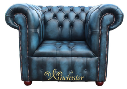 Chesterfield Belgravia Buttoned Seat Low Back Club ArmChair Antique Blue Leather