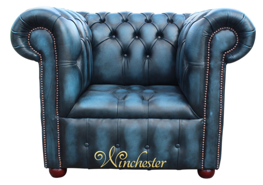 Chesterfield Buttoned Seat Low Back Club ArmChair Antique Blue Leather