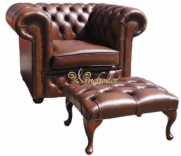 Chesterfield Low Back ArmChair Antique Tan Leather Sofa + Footstool