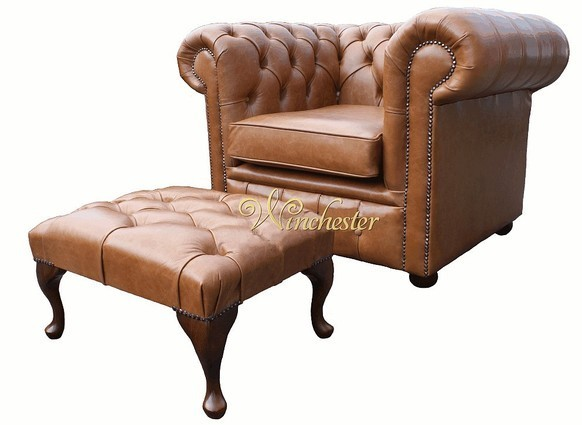 Chesterfield Low Back ArmChair Old English Tan Leather + Footstool Offer