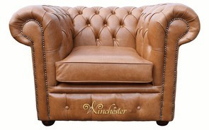 Chesterfield Low Back Club ArmChair Old English Tan Leather