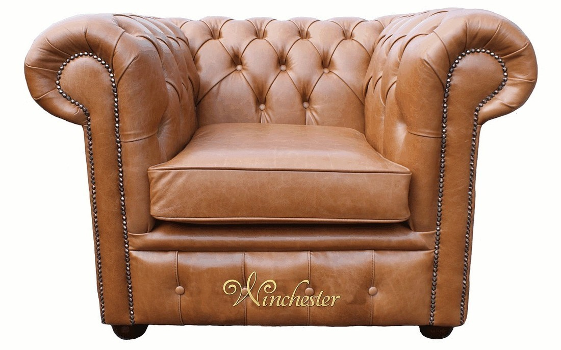 New Chesterfield Low Back Club ArmChair Old English Tan Leather IL86
