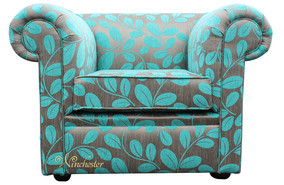 3606f65e5b86 Chesterfield Low Back 1930 s Club ArmChair Orchard Leaf Turquoise Fabric