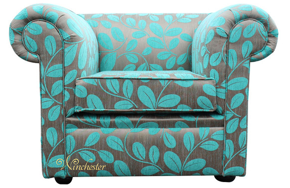 Chesterfield Low Back 1930's Club ArmChair Orchard Leaf Turquoise Fabric