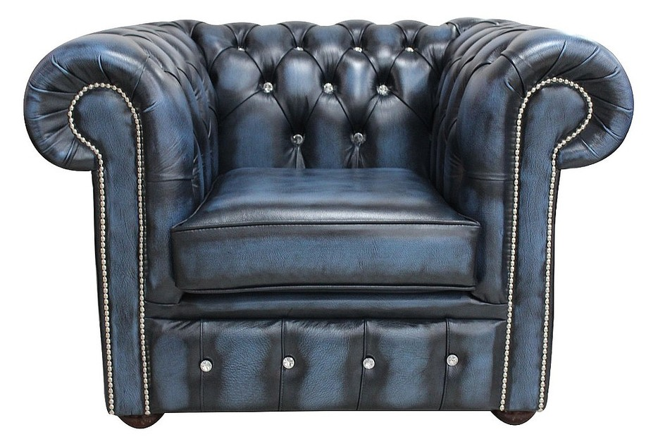 Buy Blue leather Chesterfield armchair | DesignerSofas4U