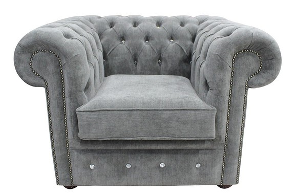 Chesterfield CRYSTALLIZED™ Elements Low Back ArmChair Keira Pewter Fabric