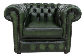 Chesterfield London Low Back Club ArmChair Antique Green Leather
