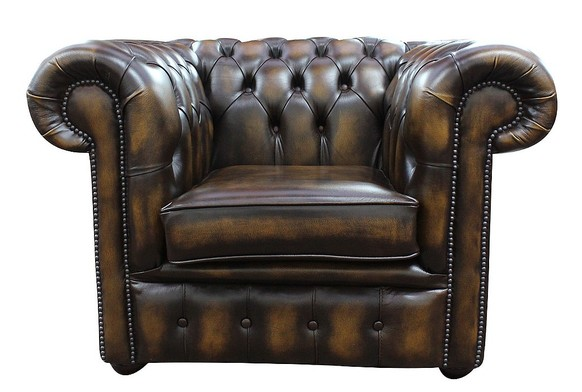 Chesterfield Low Back Club ArmChair Antique Gold Leather