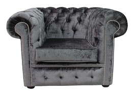 Chesterfield Low Back Club ArmChair Boutique Storm Velvet Fabric