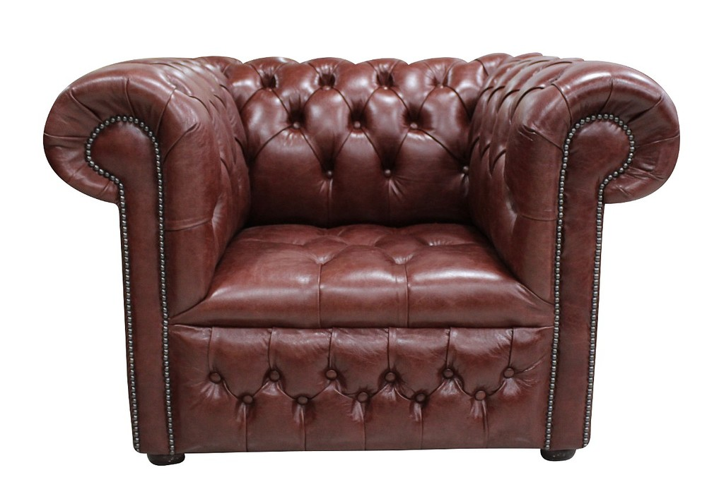 Chesterfield Low Back Club Armchair Oned Seat Old English Dark Brown Leather