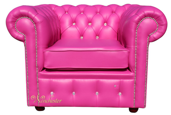 Chesterfield CRYSTALLIZED™ - Swarovski Elements Low Back ArmChair Vele Pink Leather