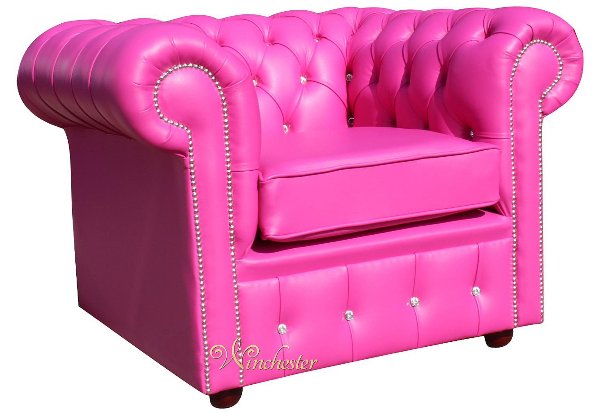 ... Chesterfield Swarovski Crystal Pink Leather Club Chair Wc