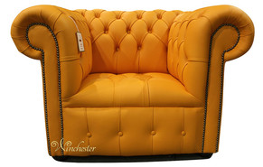 Chesterfield Low Back Club Armchair Buttoned Seat Mandarin Orange Leather