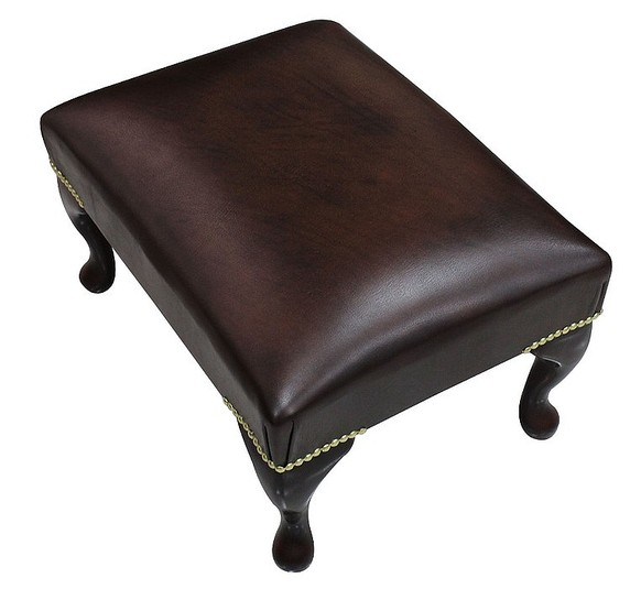 Chesterfield 1930's Queen Anne Footstool UK Manufactured Antique Brown Leather