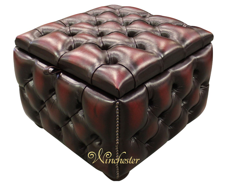 Chesterfield Buttoned Storage Box Pouffe Footstool Uk