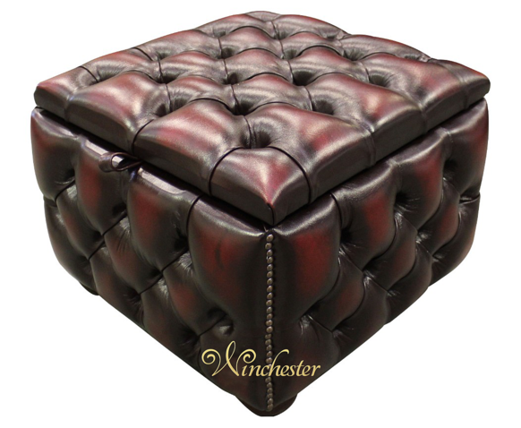 Chesterfield Buttoned Storage Box Pouffe Footstool UK Maufactured Antique Oxblood