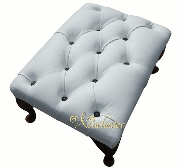 Chesterfield Queen Anne Footstool UK Maufactured White Black Buttons
