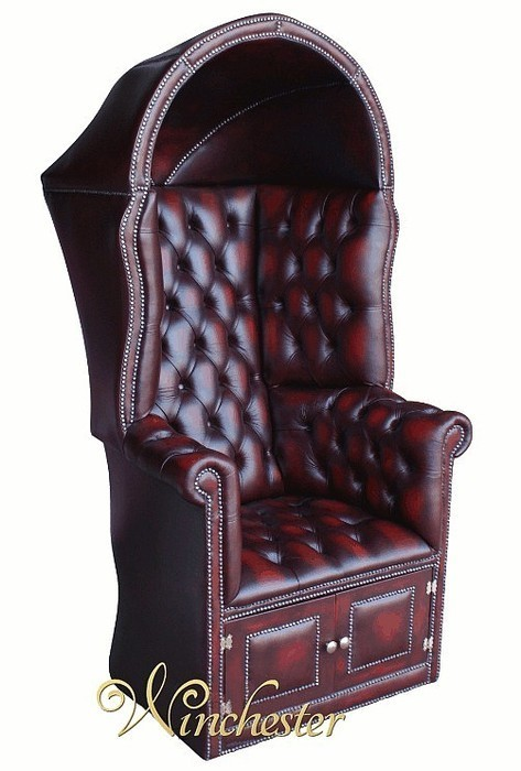 chesterfield-porters-armchair-wc - Chesterfield Porter's Chair Antique Oxblood UK Manufactured, Leather
