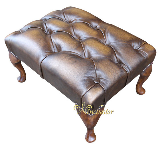 Chesterfield Queen Anne Footstool UK Maufactured Antique Gold