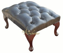 Chesterfield Queen Anne Footstool UK Maufactured Old English Alga Green